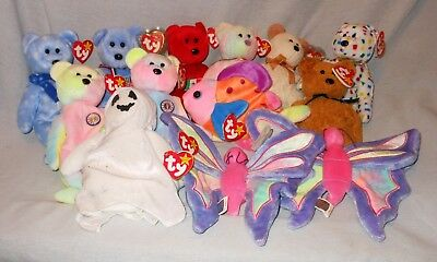 Mixed Lot Of 13 Ty Beanie Babies 1998-2001 W/Hang & Tush Tags Attached - Retired