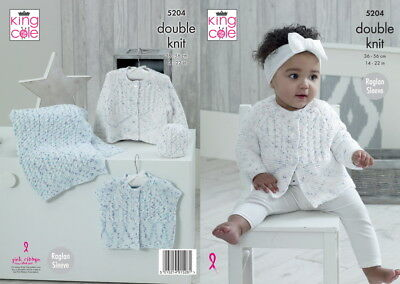 King Cole 5204 Baby DK Cardigan Blanket Hat Knitting Pattern