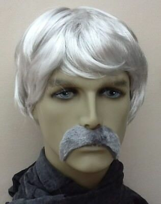 Grey Men's Short Fancy Dress Wig & Thick Droop Moustache. Uk Dispatch