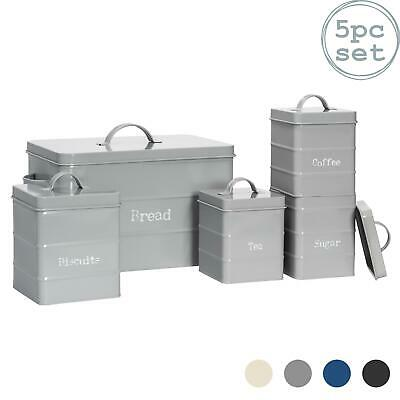 Tea Coffee Sugar Biscuit Bread Canisters Kitchen Storage Canister Set Grey