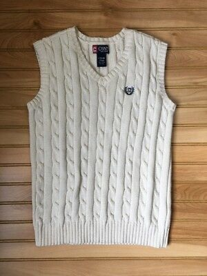 Boys Chaps Sweater Vest Large 16/18 Ivory White Ralph Lauren 16 18