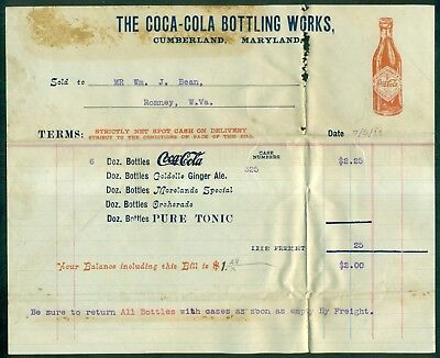 1911 The Coca-Cola Bottling Works Cumberland,MD Invoice