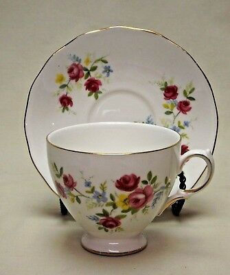 Queen Anne Fine Bone China Ridgway Potteries England Footed Tea Cup and Saucer