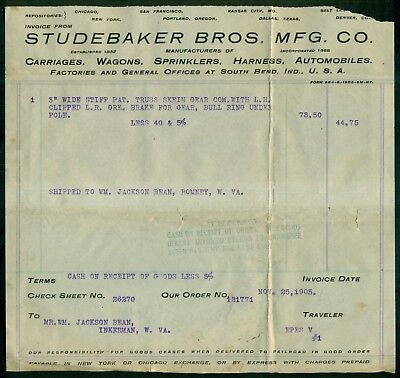 """1905 Studebaker Bros. Mfg. Co. """"Wagons & Automobiles"""" Receipt - South Bend,IN"""