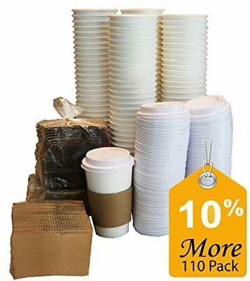 Paper Coffee Hot Cups Paper Cups With Lids and Sleeves 16oz White (110-Pieces)