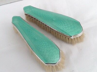 A Pair Of Art Deco Silver And Green Guilloche Enamel Brushes, 1937