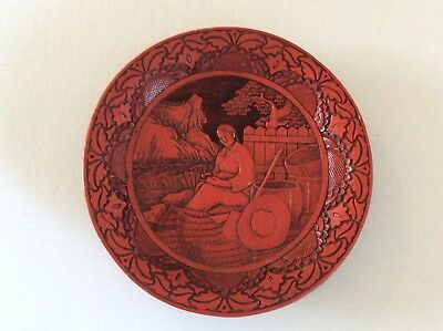 Vintage Chinese Red And Black Carved Cinnabar Plate Girl Resting In Wheatfield