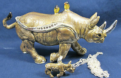Rhinoceros Jeweled Pewter Trinket Box w/necklace Wildlfie