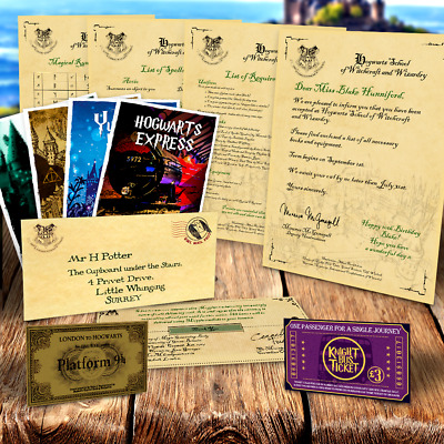 Personalised Christmas HOGWARTS PACKAGE - Acceptance letter, tickets + spells