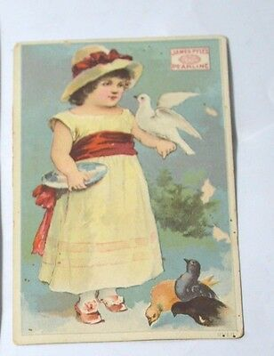 Victorian Trade Card James Pyle Pearline Girl Feeding Birds