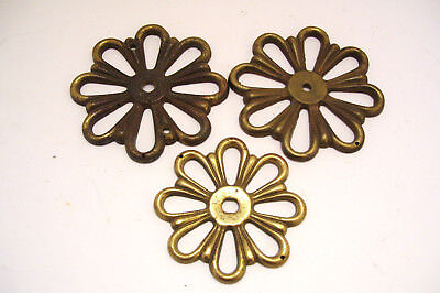 3 Cast Brass Rosette Backplates for Drawer Pull Handles Vintage Antique Hardware