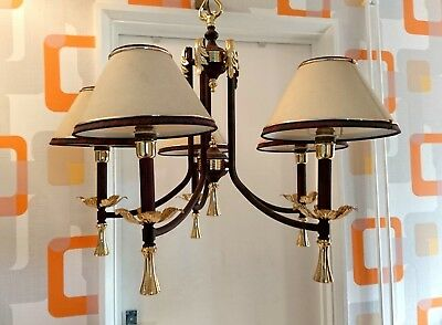 5 Arm Vintage  Metal And Brass Ceiling Light Chandelier