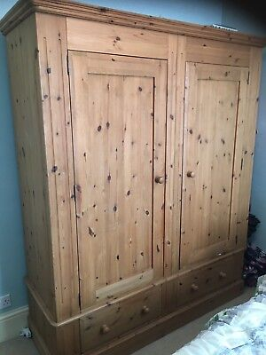 Huge Large Antique Pine Stunning Quality Double Wardrobe