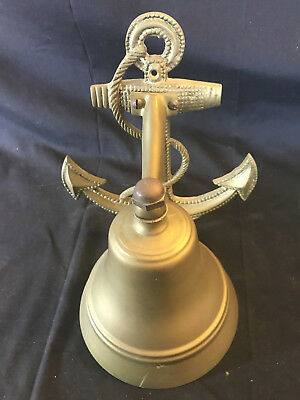 Vtg Brass Nautical Maritime Wall Hanging Decorative Anchor With Ringing Bell