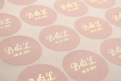 Foil wedding stickers for envelopes and favours * Personalised wedding labels