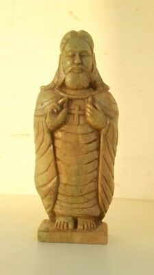 Vintage Old Marble Stone Hand Crafted Christians Jesus Christ Statue Sculpture