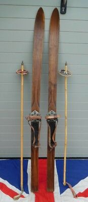 SMALL ANTIQUE VINTAGE WOODEN SKIS AND BAMBOO POLES  WITH  STRAP BINDINGS 149cm