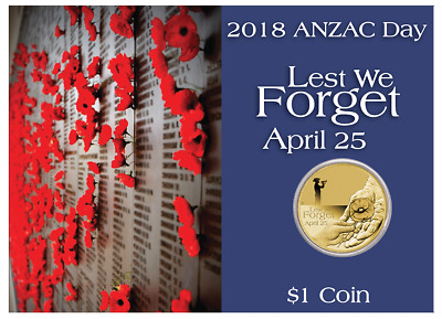 Anzac Day – Lest We Forget 2018 $1 Coin In Card