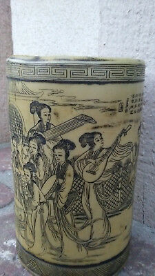 Vintage Chinese Celluloid  Brush Pot With Elaborate Scrimshaw Etching of Women