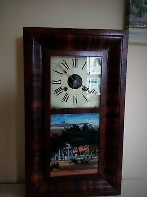 Antique American Wooden Case Wall Clock - Decorative Scene-makers E N Welch
