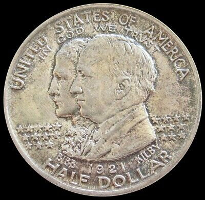 1921 Silver Us Alabama Half Dollar Commemorative Coin About Uncirculated+