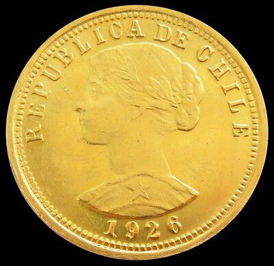 1926 So Gold Chile 100 Pesos First Year Issue Coin Mint State Condition