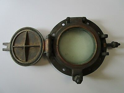 Antique Port Hole Brass Ship Nautical Industrial Art Bronze Sculpture Glass Vntg