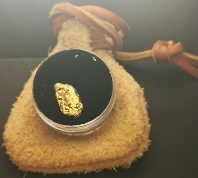 1.84 Gram Natural Gold Nugget w/ Bison Leather Poke and Acrylic Display Jar