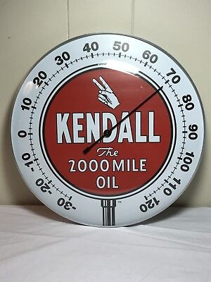 """Kendall Oil 12"""" Round Thermometer With A Glass Dome Lens Works Perfectly"""