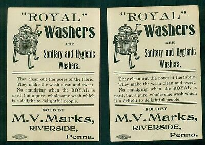 "1880's ""Royal"" Washers Advertising Trade Cards - M.V. Marks Riverside,PA"