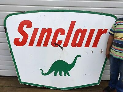 Sinclair Porcelain Sign Gas Station Oil Advertising Original 2 sided Dino