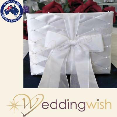 White Wedding Guest Book with Pearls and Bow, Classic Signature Book