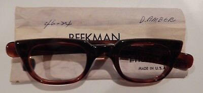 Vintage Hudson Beekman Amber 46/24 Men's Plastic Eyeglass Frame New Old Stock