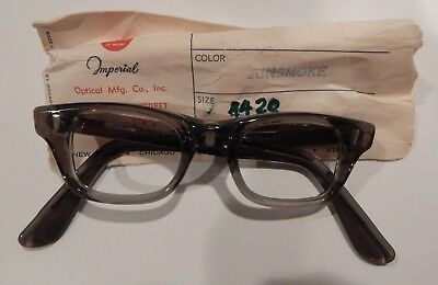 Vintage Imperial Optical Mohawk Gunsmoke 44/20 Men's Plastic Eyeglass Frame NOS