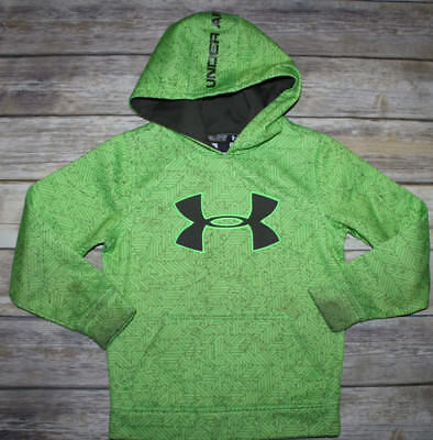 Boys UNDER ARMOUR Loose Fit Neon Green Athletic Hoodie Sweatshirt Sz.YXS 6-6X