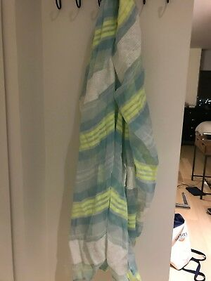 Women's green, white and blue infinity scarf