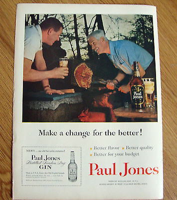 1954 Paul Jones Whiskey Ad - Outdoor Barbecue Cook-Out Theme