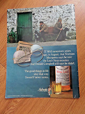 1981 Dewar's White Label Scotch Whisky Whiskey Ad  Loch Ness Monster Theme