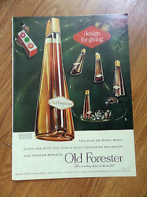 1956  Whiskey Ad Old Forester Most Advanced Decanter