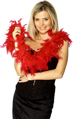 ROSSO FEATHER BOA donna Rocky Horror Accessorio Vestito 50g 150cm