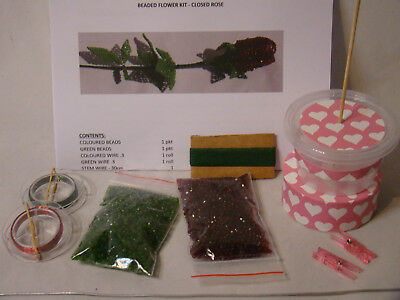 Diy Rose Beaded Flower Kit Choice Of Colours Gift Idea
