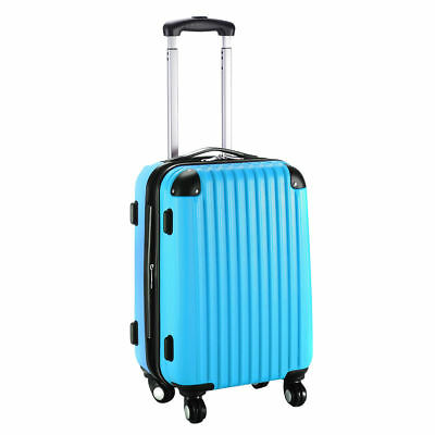 """20"""" Expandable ABS Carry On Luggage Travel Bag Trolley Suitcase Blue"""
