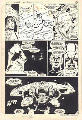Legion of Super-Heroes #305 p.17 vs. Monster 1983 Signed art by Keith Giffen