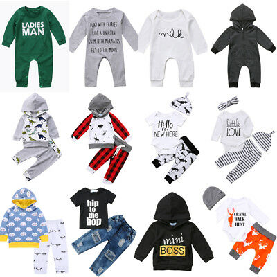 US Newborn Kids Baby Boy Girl Tops Romper Pants 3pcs Outfits Set Cotton Clothes