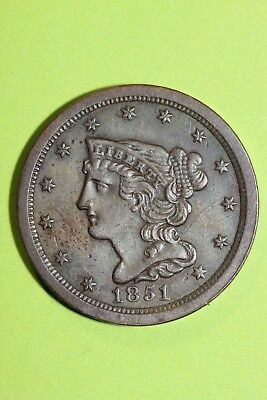 1851 Braided Hair Half Cent Exact Coin Pictured Fast FREE Shipping OCE 07