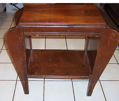 Art Deco Wood  Side  Or Hall Table with Magazine Rack Vintage