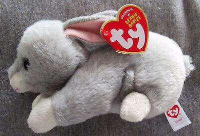 "TY Beanie Babies - NIBBLER the Gray Rabbit 6""- Retired - NEW with MINT TAGS"
