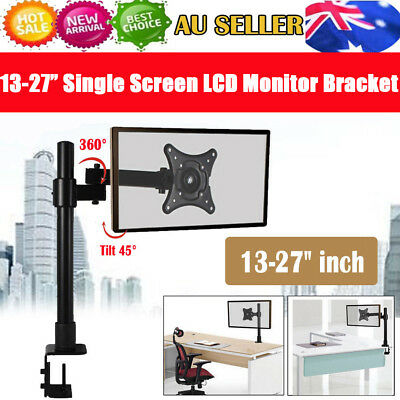 "13-27"" inch Single Arm Screen LED LCD Monitor Tilt Desk Mount Bracket VESA Black"