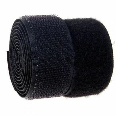 2M Self Adhesive Hook and Loop Tape Sew-On Craft Fastener Tape Black/White 25mm