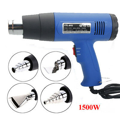 New Heat Gun Hot Air Gun Dual Temperature +4 Nozzles Power Tool 1500W Heater Gun